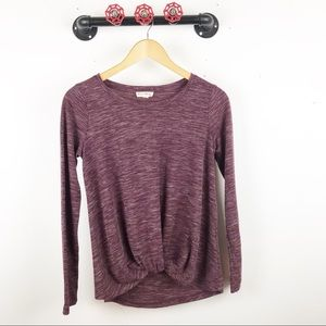 Tops - Maroon knot front long sleeve blouse